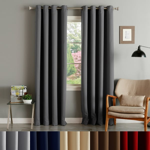 Curtains Ideas curtain panel styles : Aurora Home Thermal Insulated Blackout Grommet Top 84-inch Curtain ...