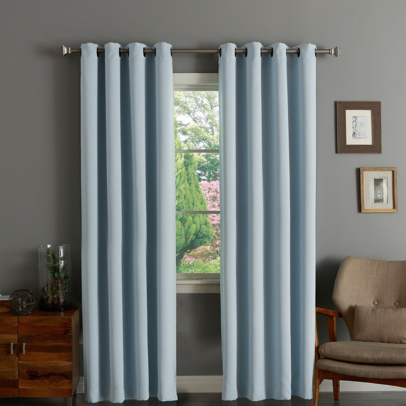 Aurora Home Thermal Insulated Blackout Grommet Top 84-inch Curtain Panel Pair - 52 x 84 (More options available)