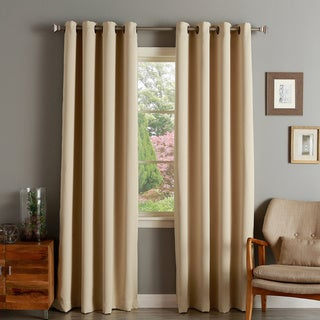 Aurora Home Thermal Insulated Blackout Grommet Top 84-inch Curtain Panel Pair - 52 x 84 (Beige)