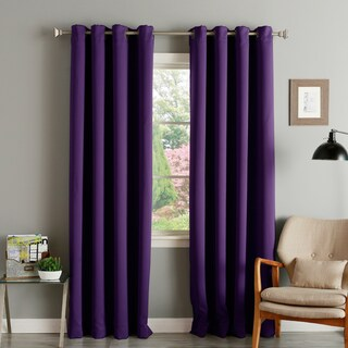 Aurora Home Thermal Insulated Blackout Grommet Top 84-inch Curtain Panel Pair - 52 x 84 (Option: Eggplant)