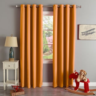 Aurora Home Thermal Insulated Blackout Grommet Top 84-inch Curtain Panel Pair - 52 x 84 (Orange)