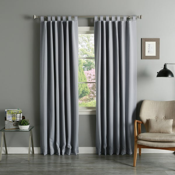aurora home tab top thermal insulated 84inch blackout curtain panel pair 52 x 84 free shipping today