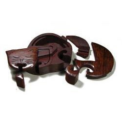 Wooden Fair Trade Cat Puzzle Box with Two Hidden Compartments  , Handmade in India - Thumbnail 1