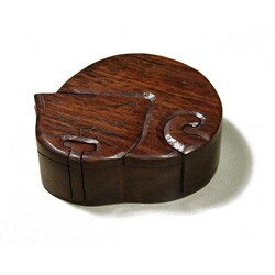 Handmade Wooden Fair Trade Cat Puzzle Box with Two Hidden Compartments (India)