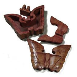 Wooden Fair Trade Butterfly Puzzle Box (India) - Thumbnail 1