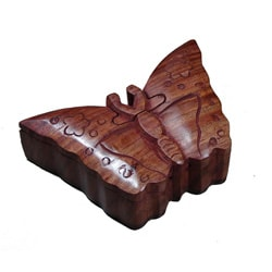 Wooden Fair Trade Butterfly Puzzle Box (India)