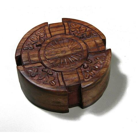 Handmade Wood Cross Puzzle Box (India) - Brown