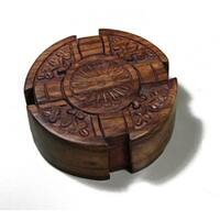 Wooden Fair Trade Cross Puzzle Box  , Handmade in India - Brown