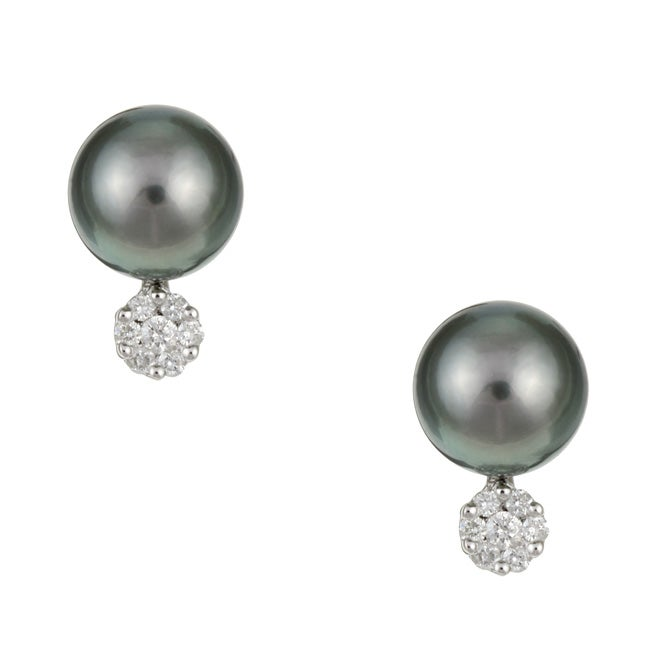 Kabella 14k Gold Tahitian Pearl and 1/4ct TDW Diamond Earrings (9-9.5 mm)