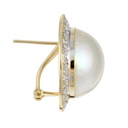 Kabella 14k Yellow Gold Mabe Pearl and 3/8ct TDW Diamond Earrings (J, I3) - Thumbnail 1