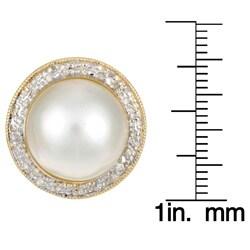 Kabella 14k Yellow Gold Mabe Pearl and 3/8ct TDW Diamond Earrings (J, I3) - Thumbnail 2