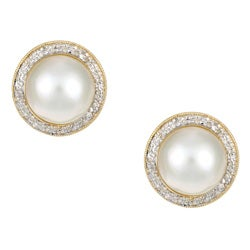 Kabella 14k Yellow Gold Mabe Pearl and 3/8ct TDW Diamond Earrings (J, I3)