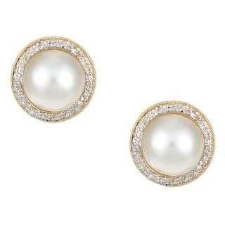 Kabella 14k Yellow Gold Mabe Pearl and 3/8ct TDW Diamond Earrings (J, I3)|https://ak1.ostkcdn.com/images/products/4359928/P12329881.jpg?impolicy=medium