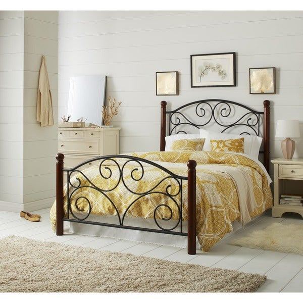 doral black steel metal full size bed frame free shipping today overstock 12331294. Black Bedroom Furniture Sets. Home Design Ideas