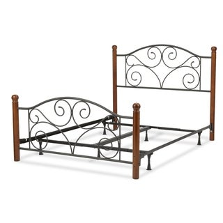 Doral Complete Bed with Metal Panels and Dark Walnut Wood Posts