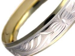 14k Gold Overlay/ Rhodium Wide Etched Bangle Bracelet (Mexico)