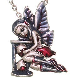 Carolina Glamour Collection Pewter 'Time Flies Strangelings Artist' Enamel Fairy Necklace
