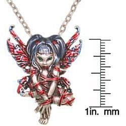 Carolina Glamour Collection Pewter 'Red Ribbon Strangelings' Artist Fairy Necklace - Thumbnail 2