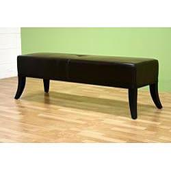Stobbart Dark Brown Leather Bench - Thumbnail 1