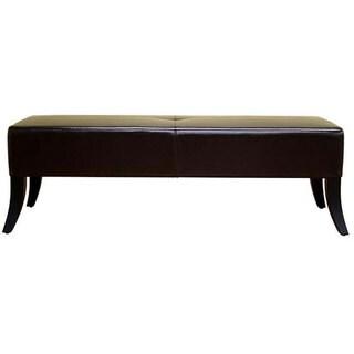 Stobbart Dark Brown Leather Bench
