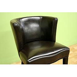Willet Curved Backrest Leather Barstool - Thumbnail 1