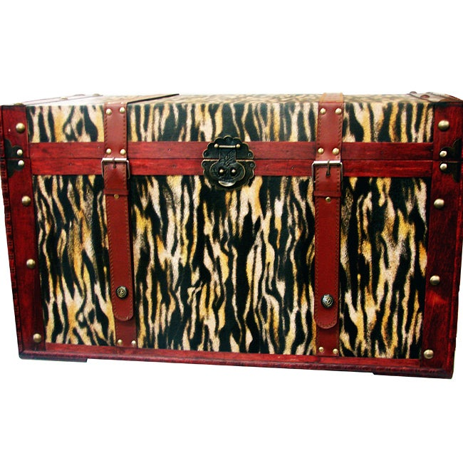 Phat Tommy Tiger Decorative Wooden Storage Trunk
