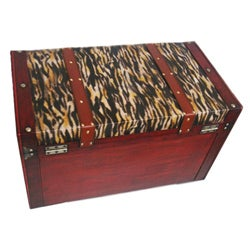 Phat Tommy Tiger Decorative Wooden Storage Trunk - Thumbnail 1