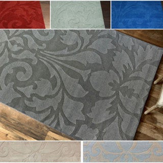nuLOOM Handmade Neutrals and Textures Damask Wool Rug (5' x 8')
