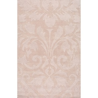 nuLOOM Handmade Neutrals and Textures Damask Sand Wool Rug (8' x 10')