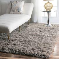 nuLOOM Hand-woven Flokati Wool Shag Rug (3' x 5') - 3' x 5'