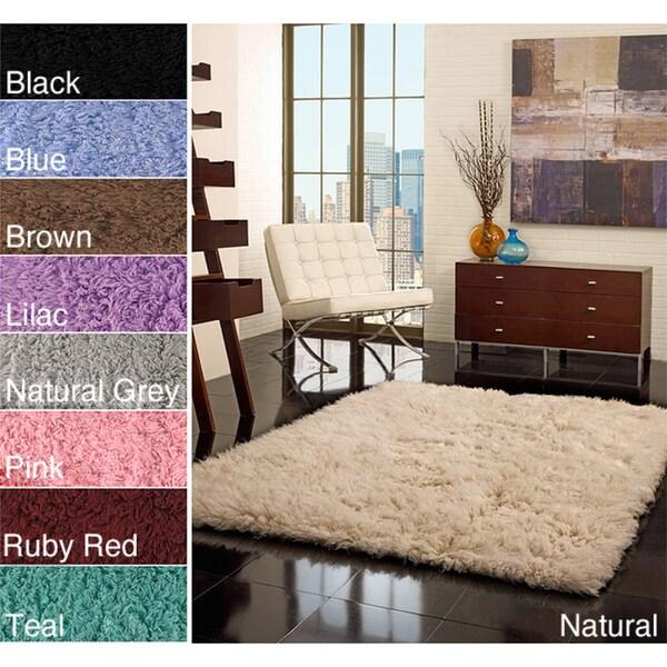 nuLOOM Hand-woven Alexa Flokati Wool Shag Rug (7' x 9')
