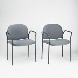 HON Multipurpose Stacking Arm Chair, Gray (Pack of 2) - Thumbnail 1