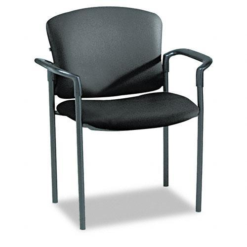 HON Pagoda 4070 Series Stacking Chair, Black Vinyl, Arms (Pack of 2)