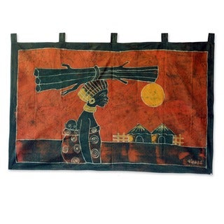 'Woman from the Farm' Batik Wall Hanging (Ghana)