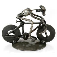 Recycled Metal 'Rustic Cyclist' Iron Sculpture , Handmade in Mexico