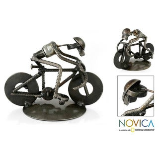 Recycled Metal 'Rustic Cyclist' Iron Sculpture ,