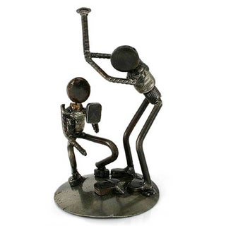 Recycled Metal 'Rustic Baseball Players' Iron Sculpture , Handmade in Mexico
