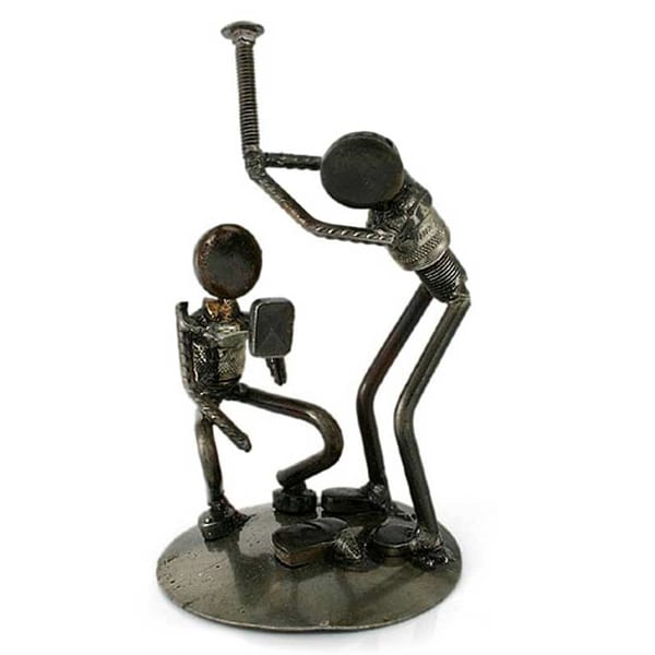 Handmade Recycled Rustic Baseball Players Iron Sculpture (Mexico)