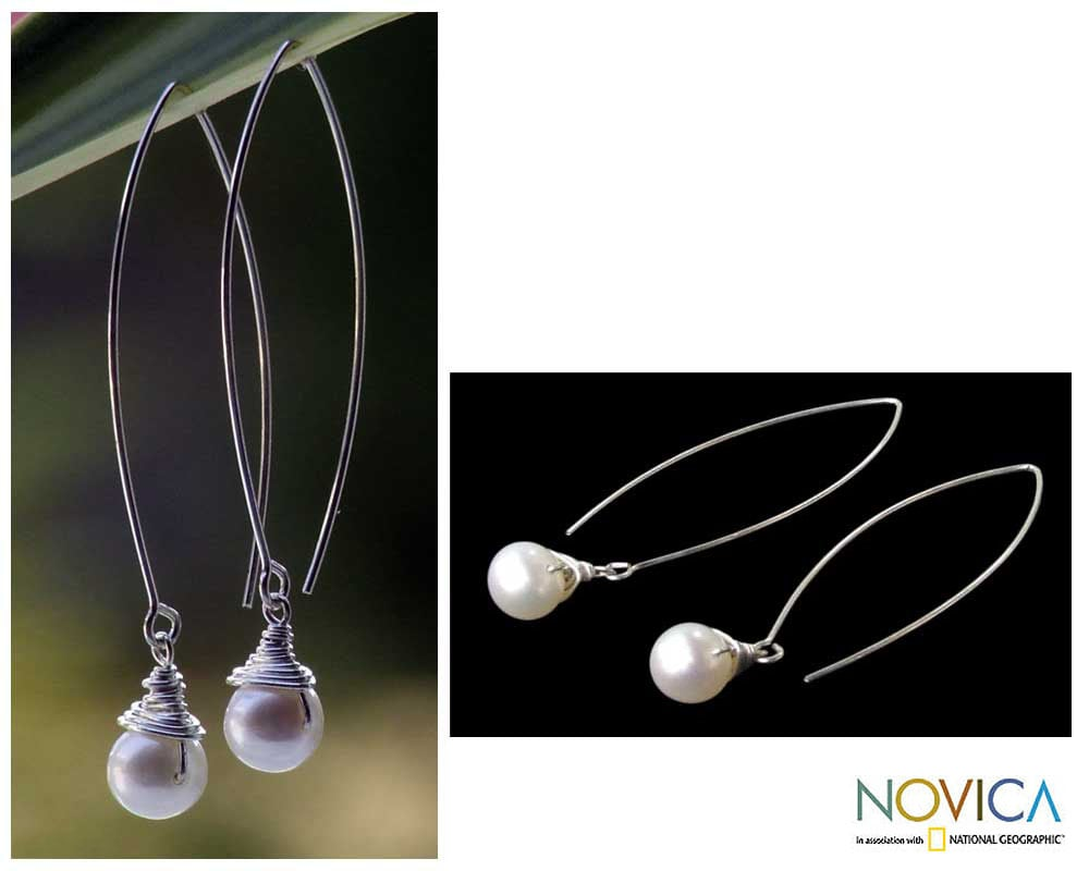 Handmade Sterling Silver Sublime Drop Pearl Halo Style Earrings (Thailand)
