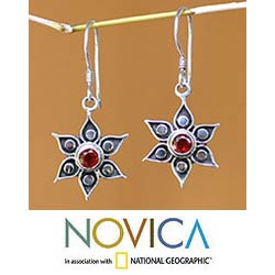 Handmade Garnet 'Poinsettias' Flower Earrings (Indonesia)
