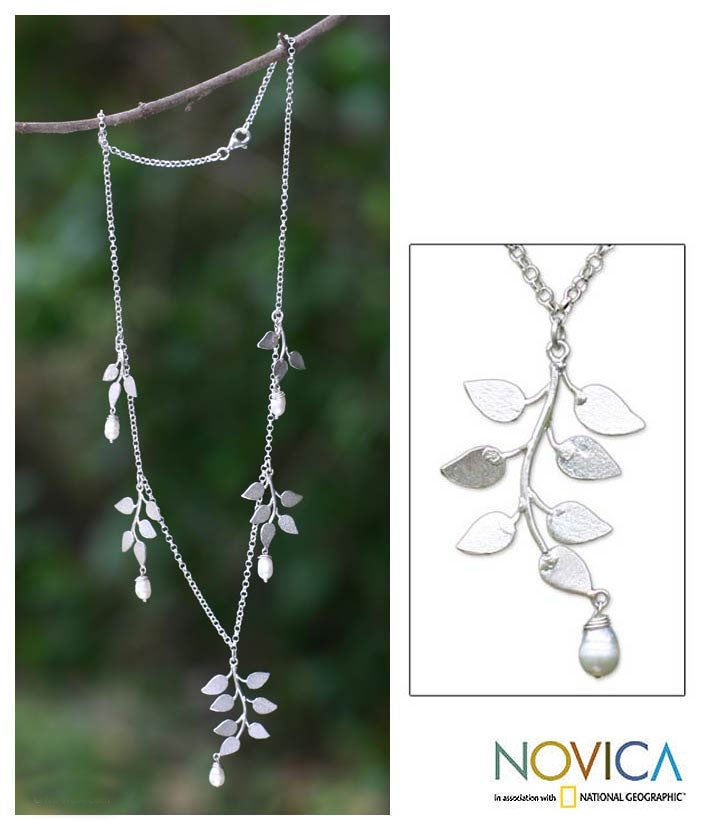 Handmade Sterling Silver 'Cloud Forest' FW Pearl Necklace (Indonesia)