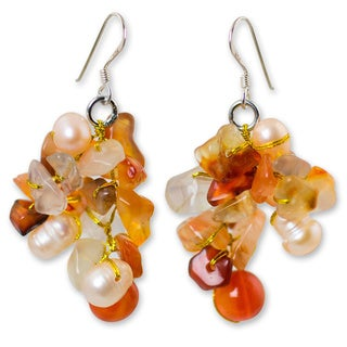 Happiness White Freshwater Pearls and Orange Carnelian Gemstone Cluster on 925 Sterling Silver Womens Dangle Earrings (Thailand)