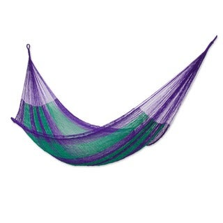 Handmade Vineyard Outdoor Garden Patio Pool Green Purple Stripe Durable Unique Knotted Rope Style Nylon Hammock (Mexico)