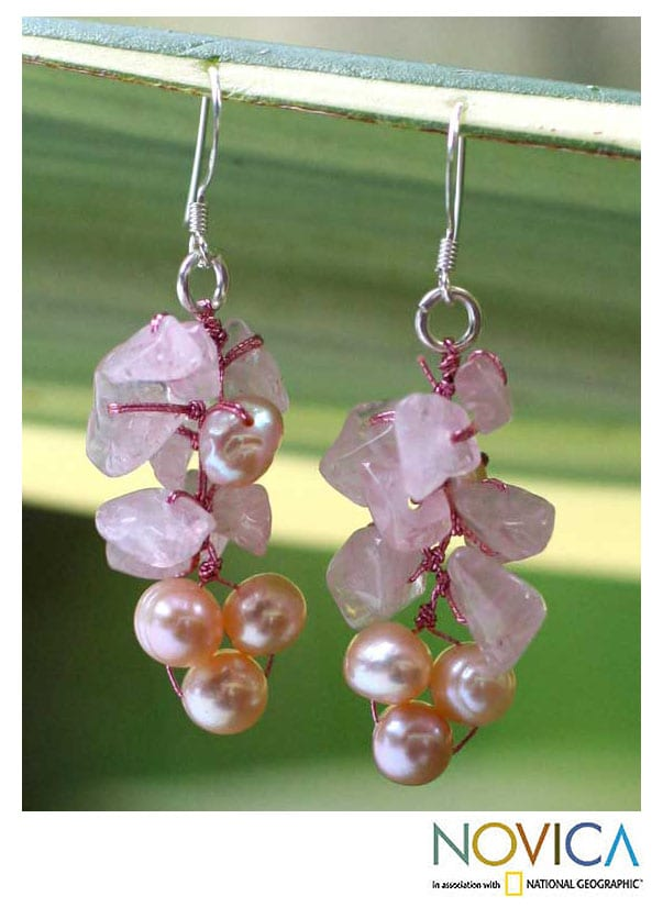 Pearl and Rose Quartz 'Pink Bouquet' Cluster Earrings (Thailand)