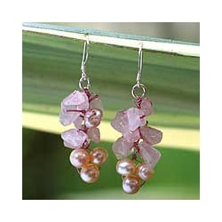 Handmade Pearl and Rose Quartz 'Pink Bouquet' Cluster Earrings (Thailand)