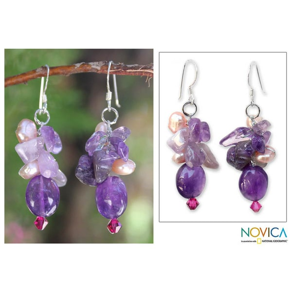 Handmade 'Dream Girl' Pearl and Amethyst Cluster Earrings (Thailand)