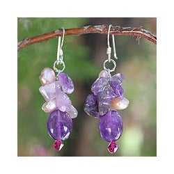 'Dream Girl' Pearl and Amethyst Cluster Earrings (Thailand)