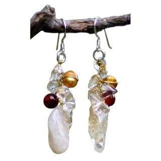 Handmade Pearl and Carnelian 'Golden Star' Cluster Earrings (Thailand)