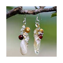 Handmade Pearl and Carnelian 'Golden Star' Cluster Earrings (Thailand)