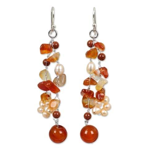 Pearl and Carnelian 'Sun Dancer' Cluster Earrings